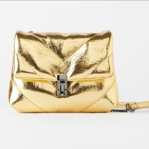 ZARA Metallic Gold Quilted Purse on a Chain